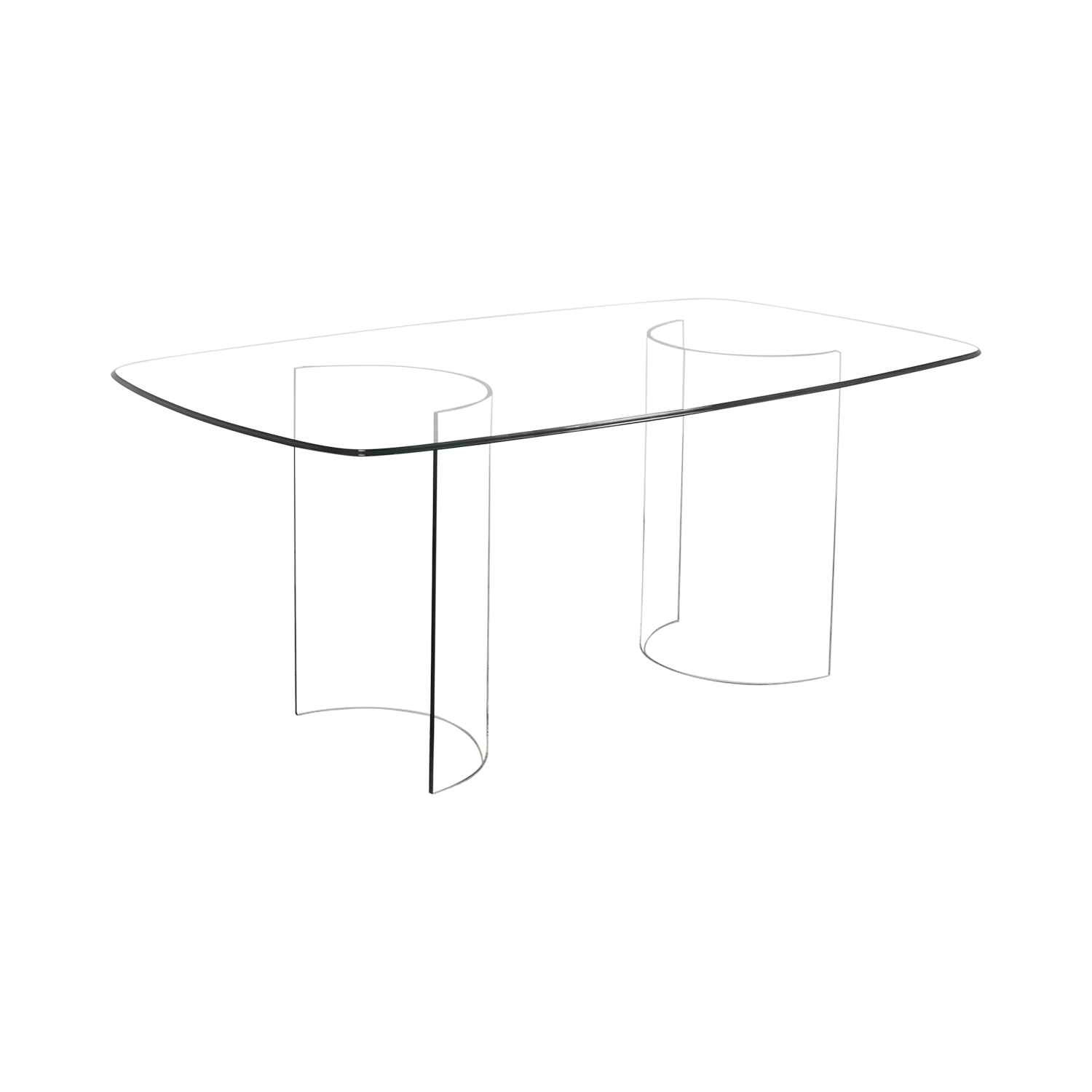 Raymour & Flanigan Raymour & Flanigan Beveled Tempered Glass Dining Table on sale