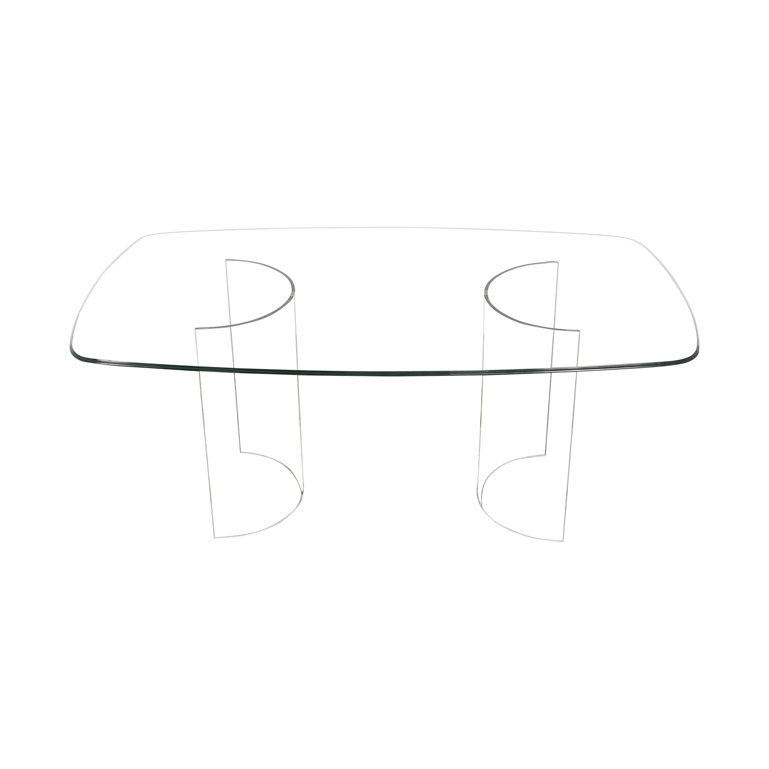 Raymour & Flanigan Beveled Tempered Glass Dining Table Raymour & Flanigan