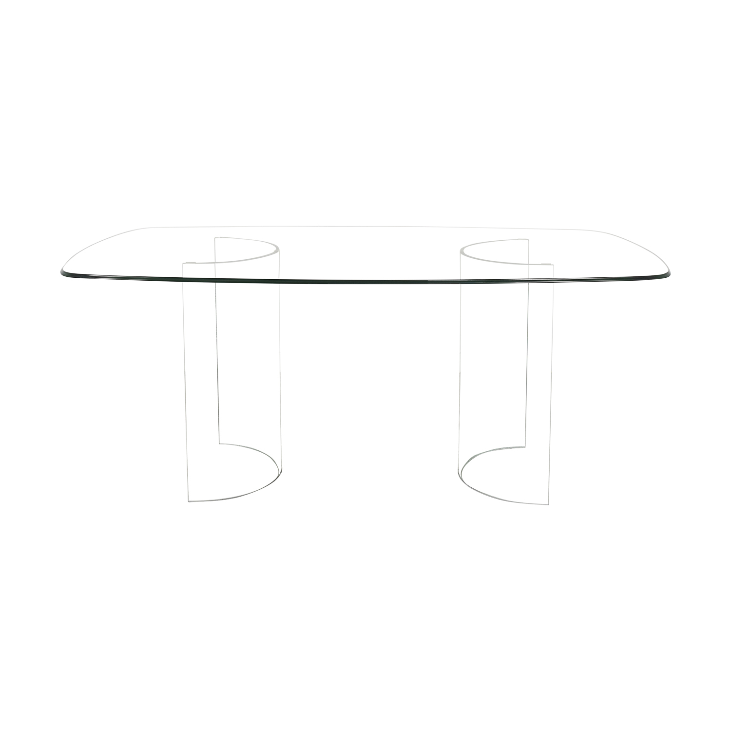 Raymour & Flanigan Raymour & Flanigan Beveled Tempered Glass Dining Table for sale