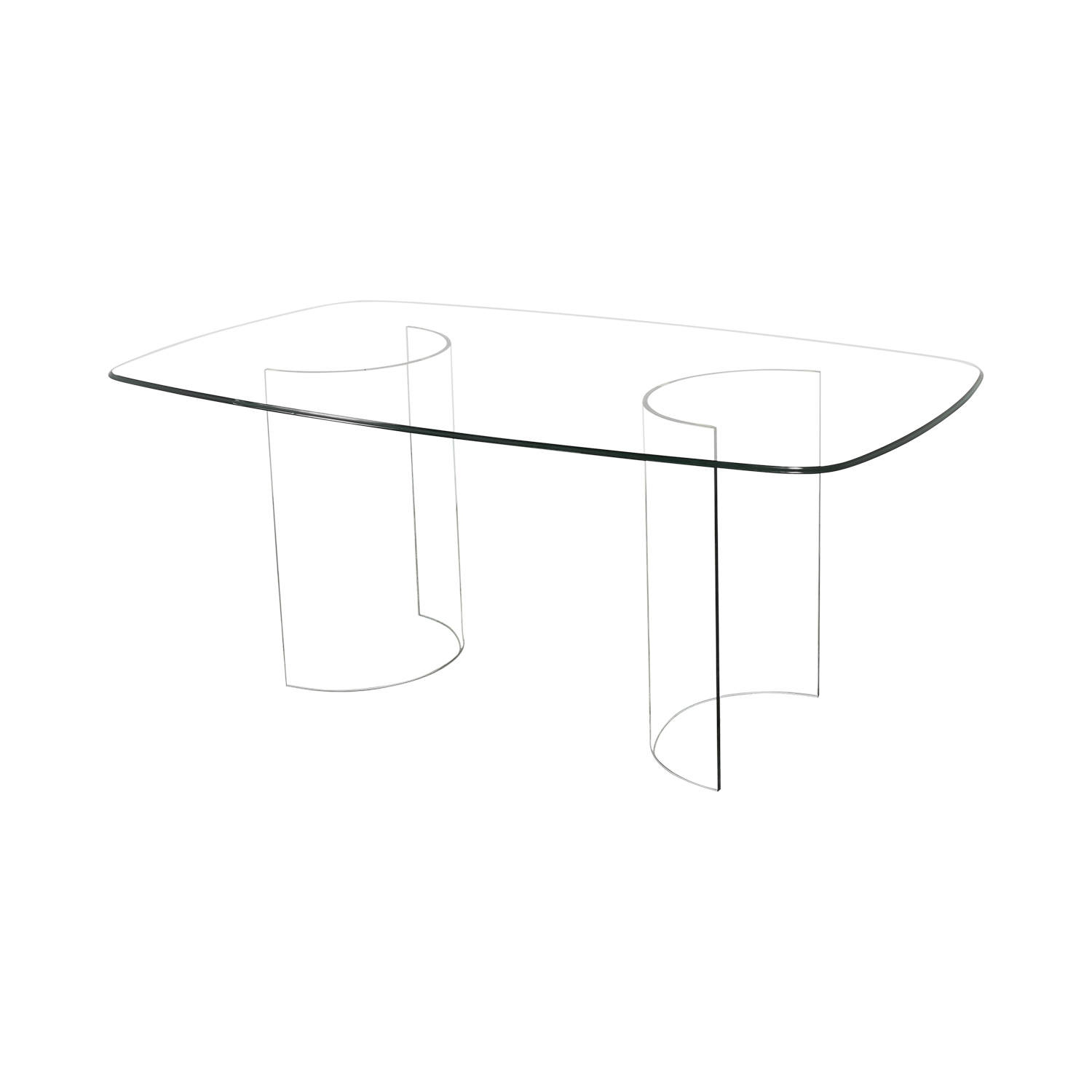 buy Raymour & Flanigan Beveled Tempered Glass Dining Table Raymour & Flanigan