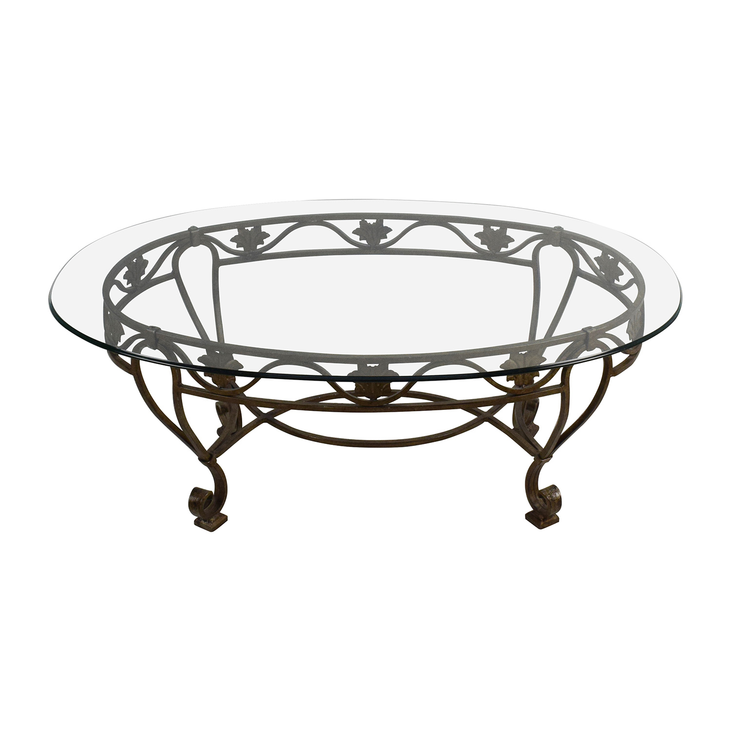 Iron Cast Glass Top Antique Coffee Table / Tables