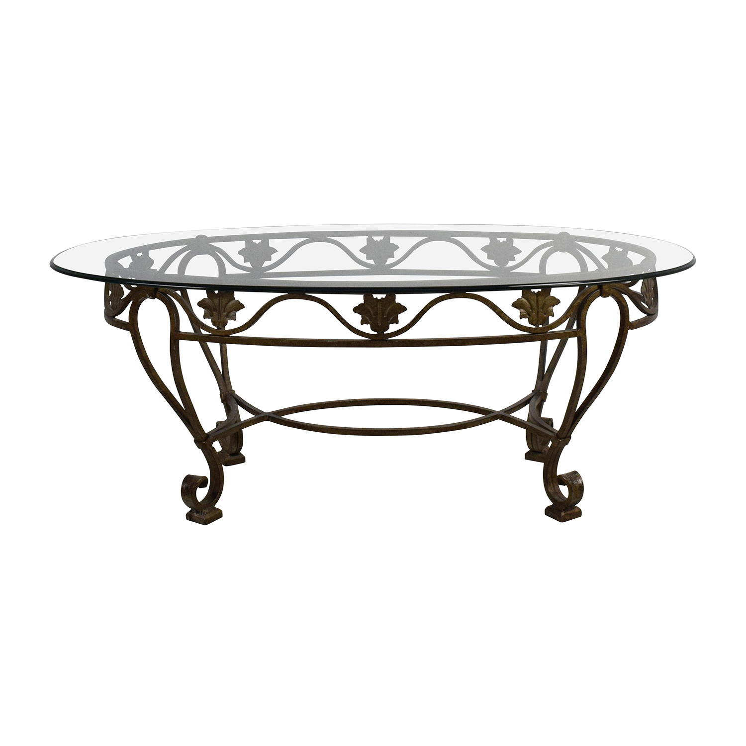 Shop Iron Cast Glass Top Antique Coffee Table Tables ...