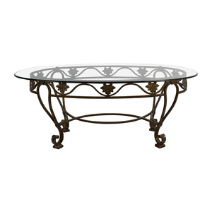 Iron Cast Glass Top Antique Coffee Table for sale
