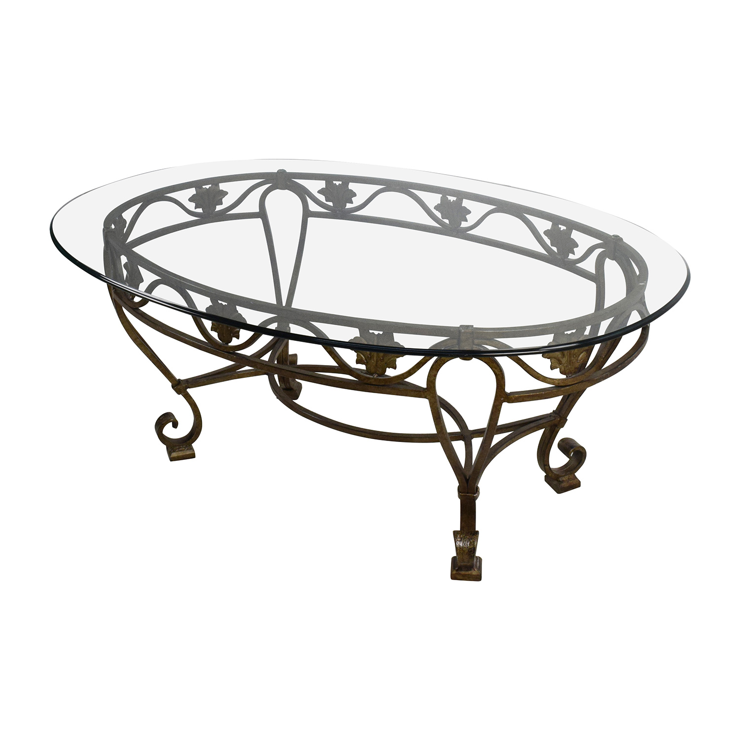 90% OFF Iron Cast Glass Top Antique Coffee Table Tables