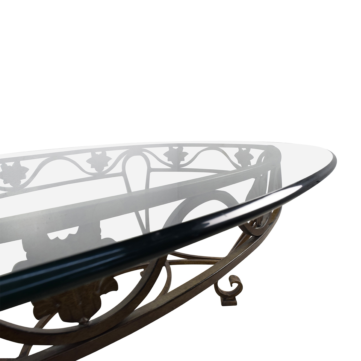 90 Off Iron Cast Glass Top Antique Coffee Table Tables