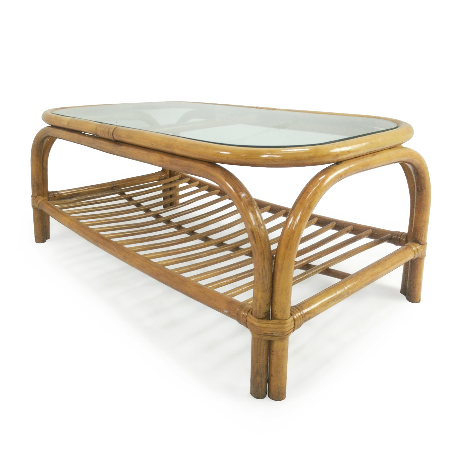 80 Off Glass Top Bamboo Coffee Table Tables
