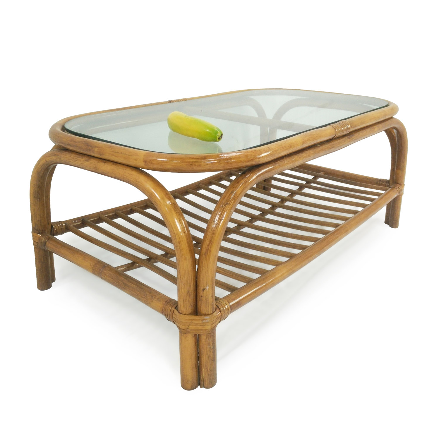 80% OFF Glass Top Bamboo Coffee Table Tables