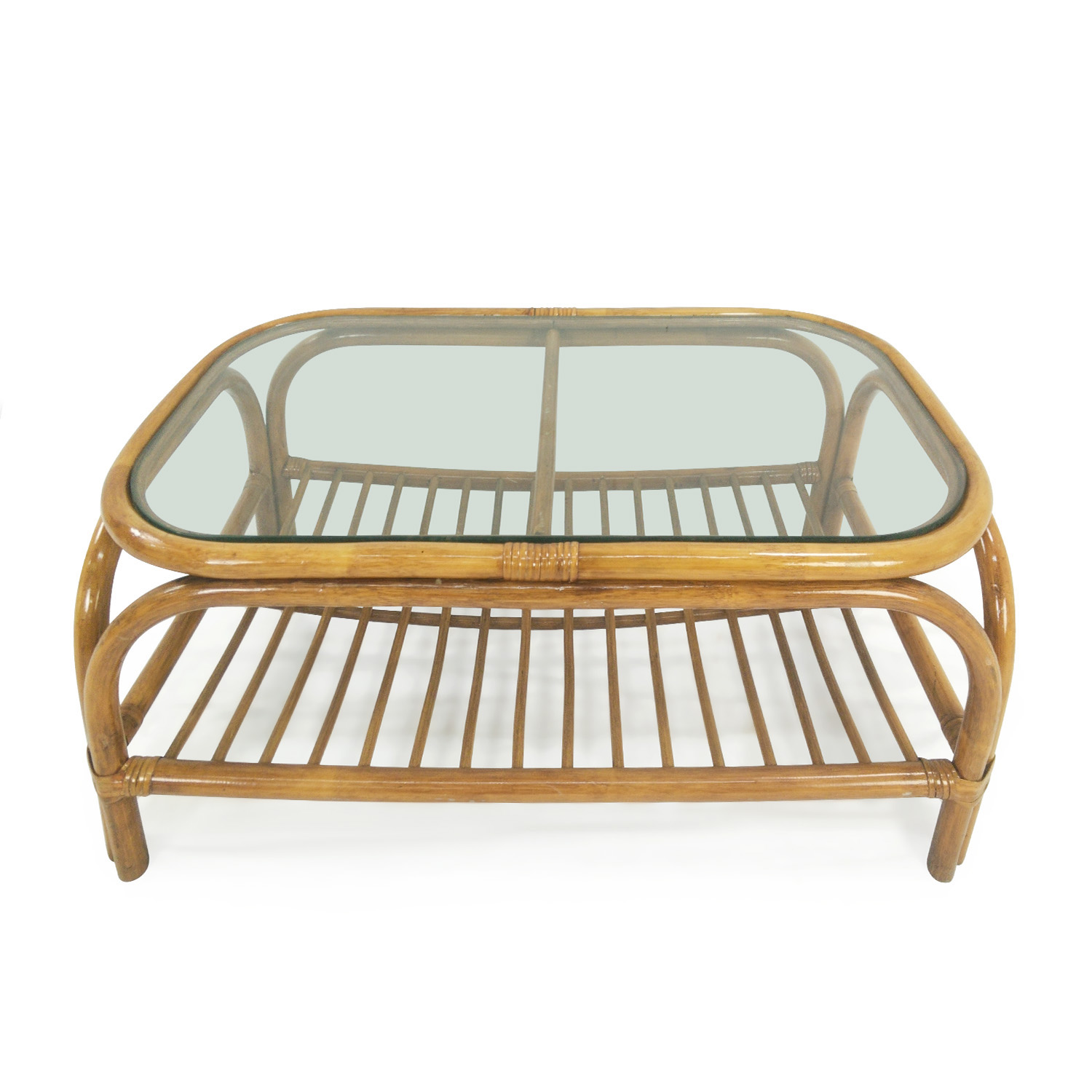 shop Glass Top Bamboo Coffee Table
