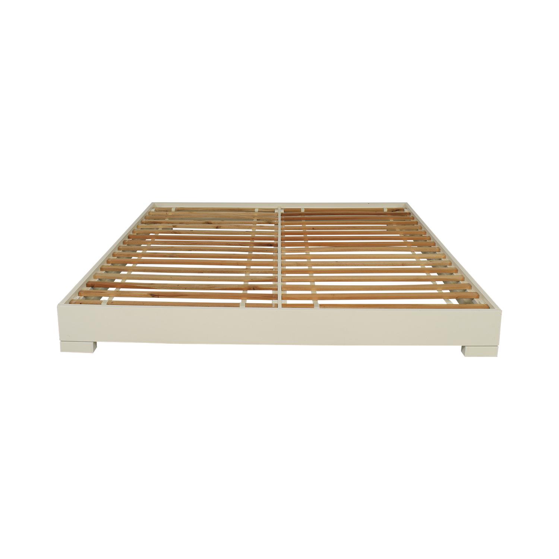 West Elm West Elm Chunky Wood King Bed Frame white