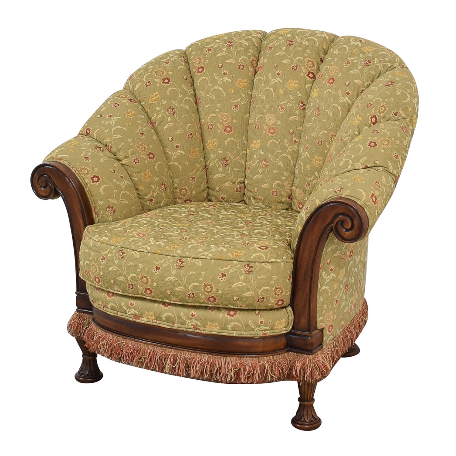 Vanguard Furniture Lauren Brooks Vanguard Furniture Scallop Back Rolled Arm Accent Chair multicolored