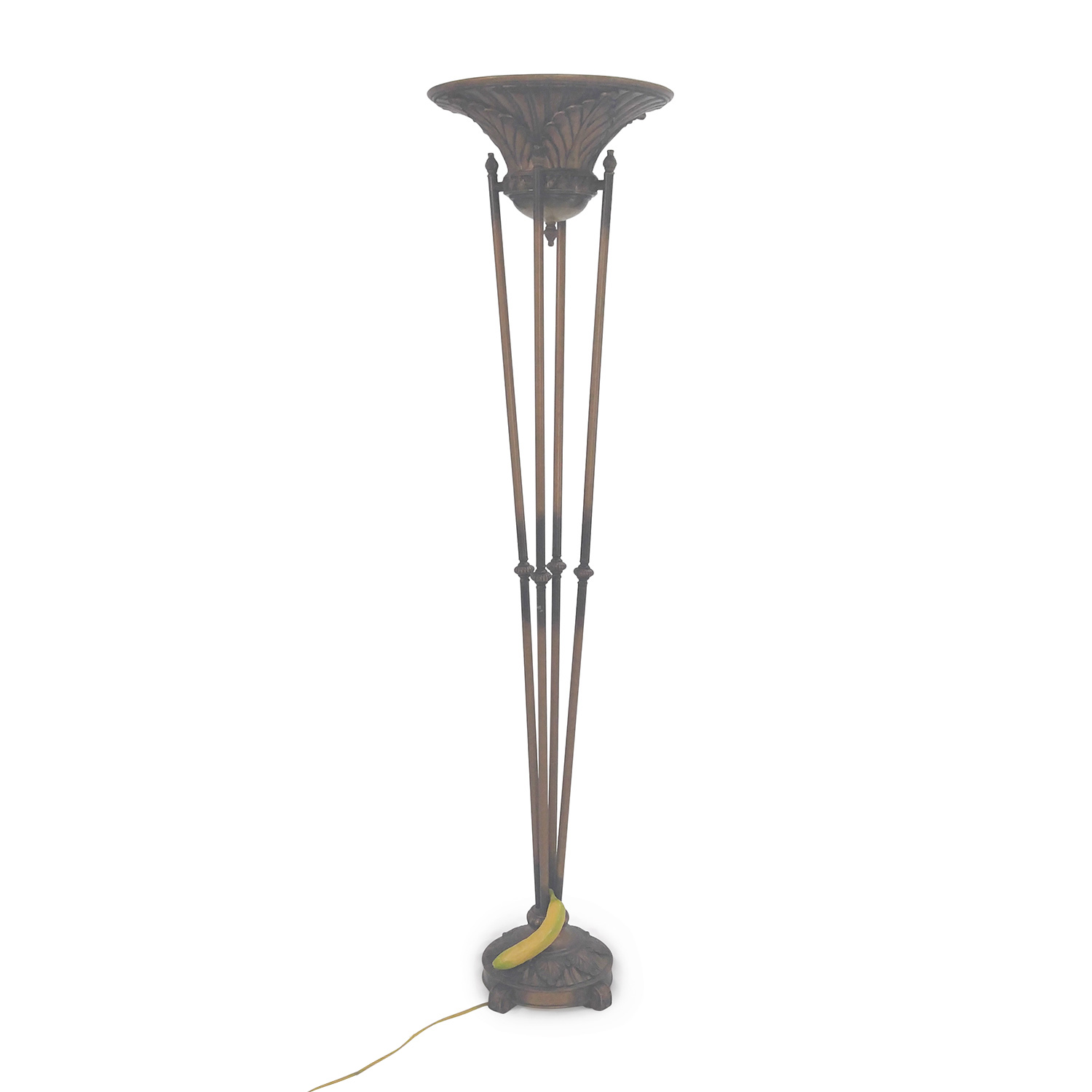 Unknown Brand Cast Iron Large Floor Lamp Gold
