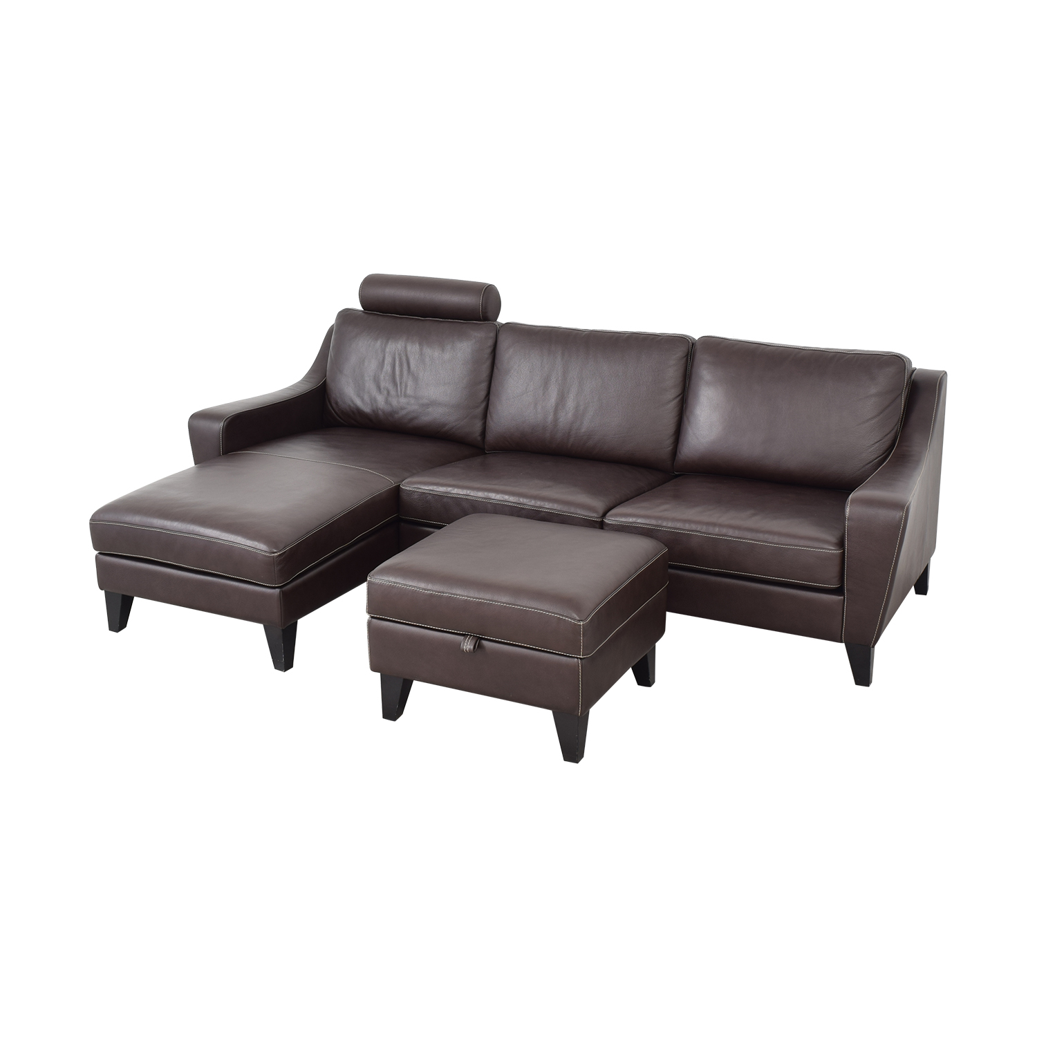 Lind Lind Chaise Sofa with Headrest and Ottoman nyc