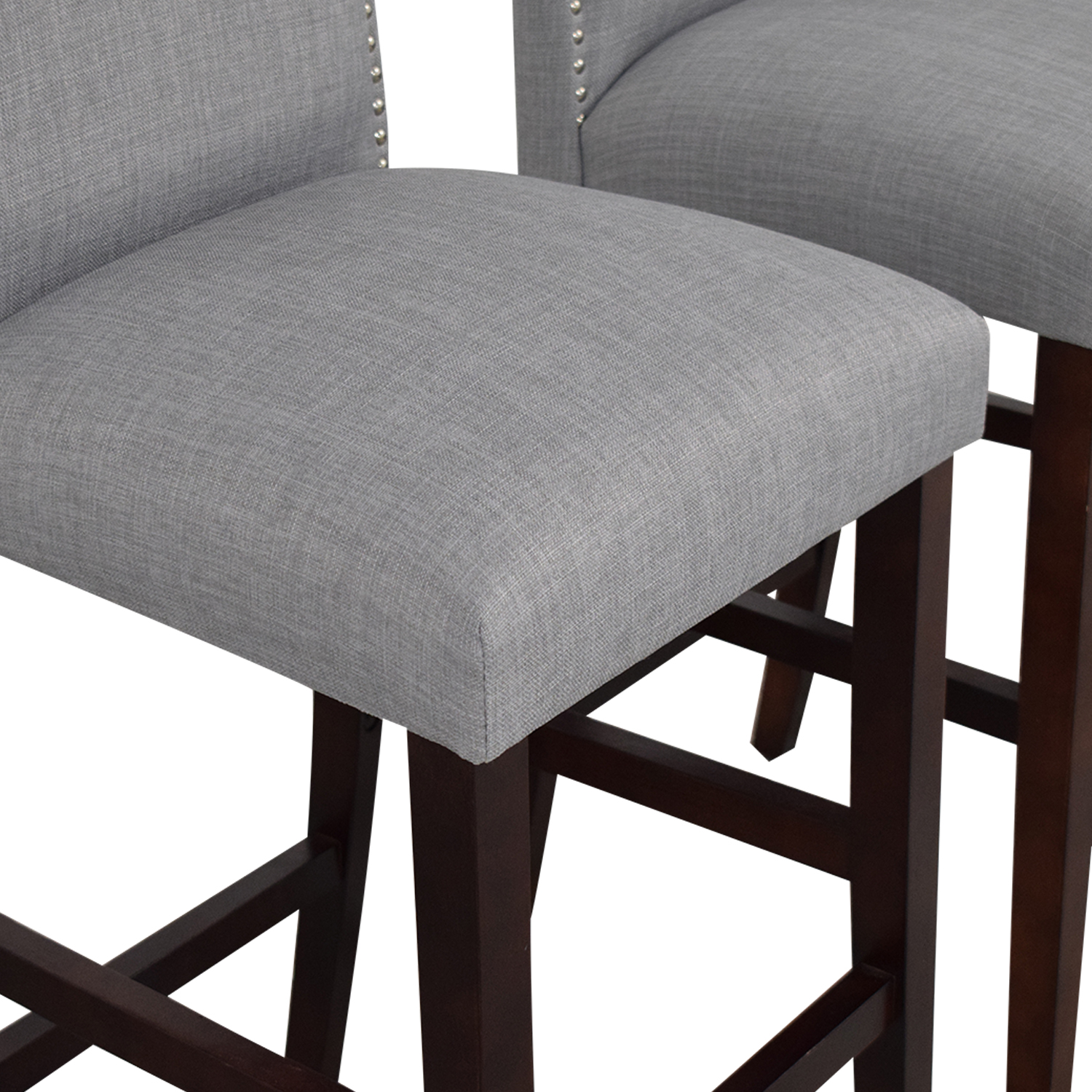 Skyline Furniture Nail Button Camel Back Bar Stools grey and brown
