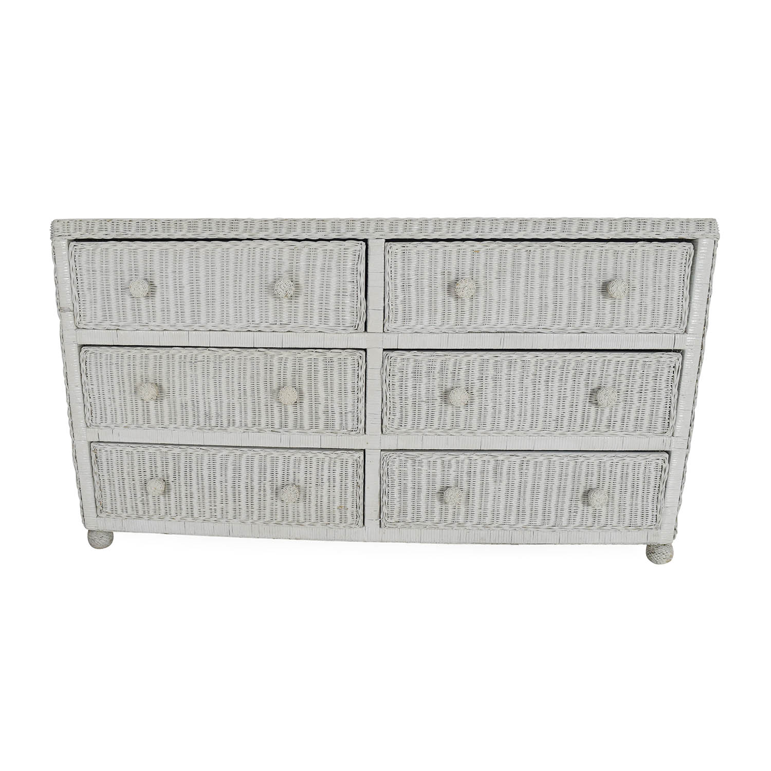 80% OFF - ElanaMar Designs Elana Mar White Wicker Dresser / Storage