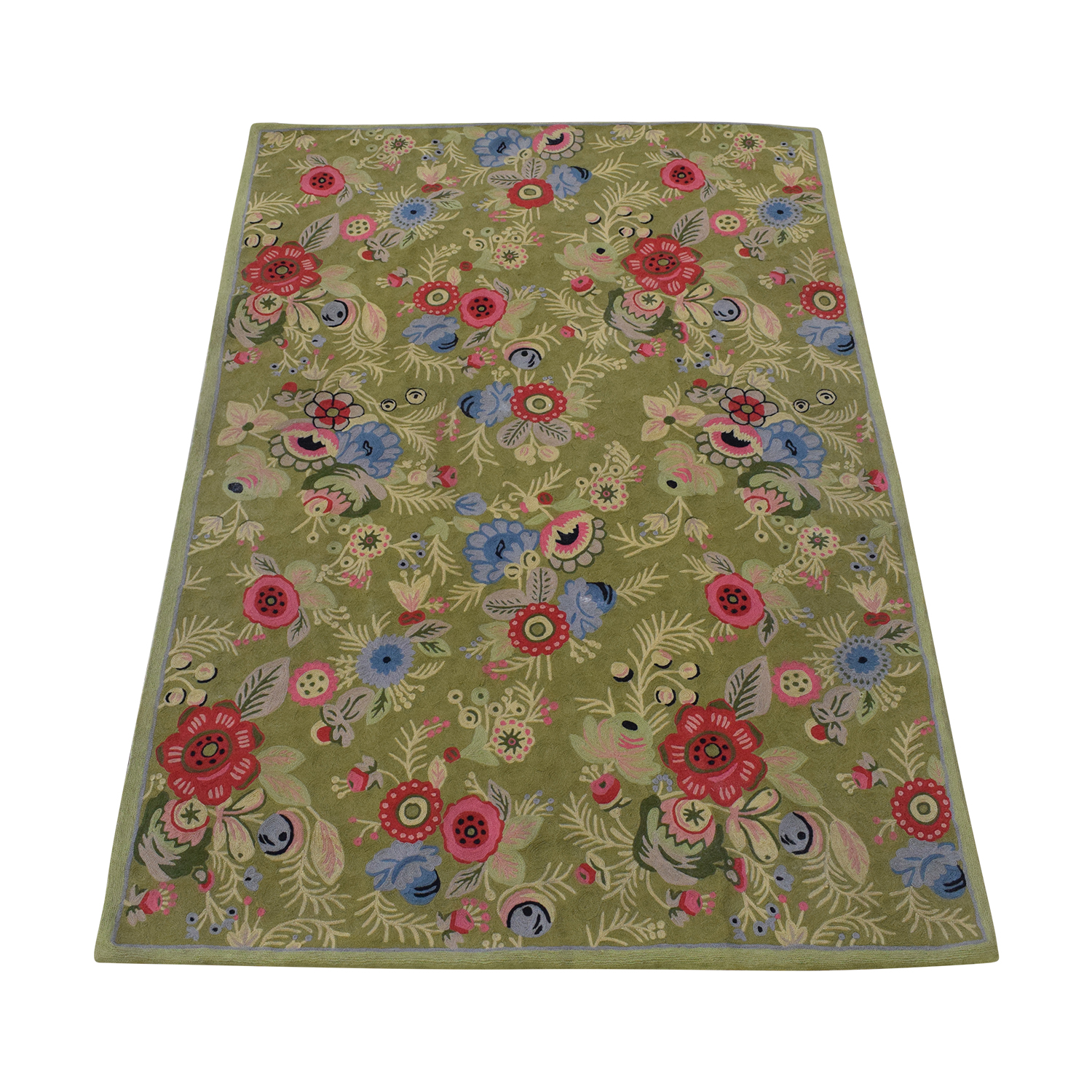 Anthropologie Anthropologie Woven Wool Floral Rug second hand