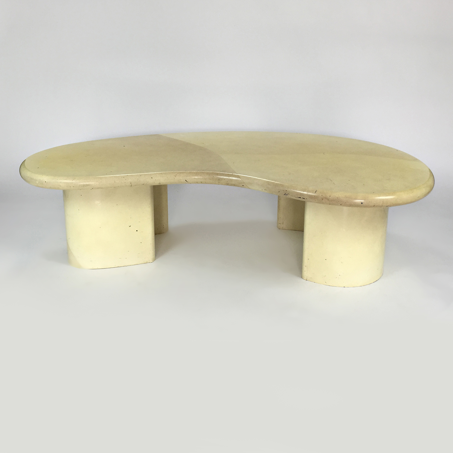 Custom Designer Curved Faux Marble Table on sale