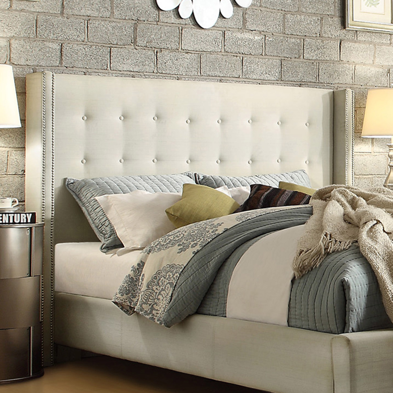 ... Marion Nailhead Wingback Tufted Queen-sized Headboard / Beds