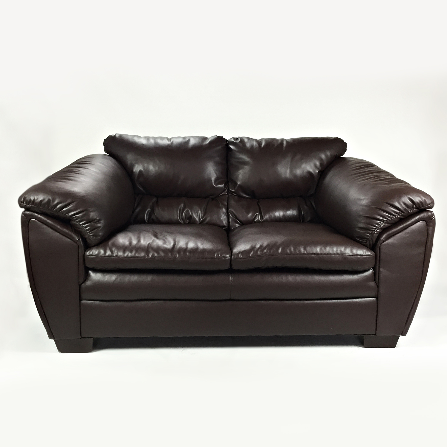 shop Brown Faux Leather Love Seat Bobs Furniture Loveseats
