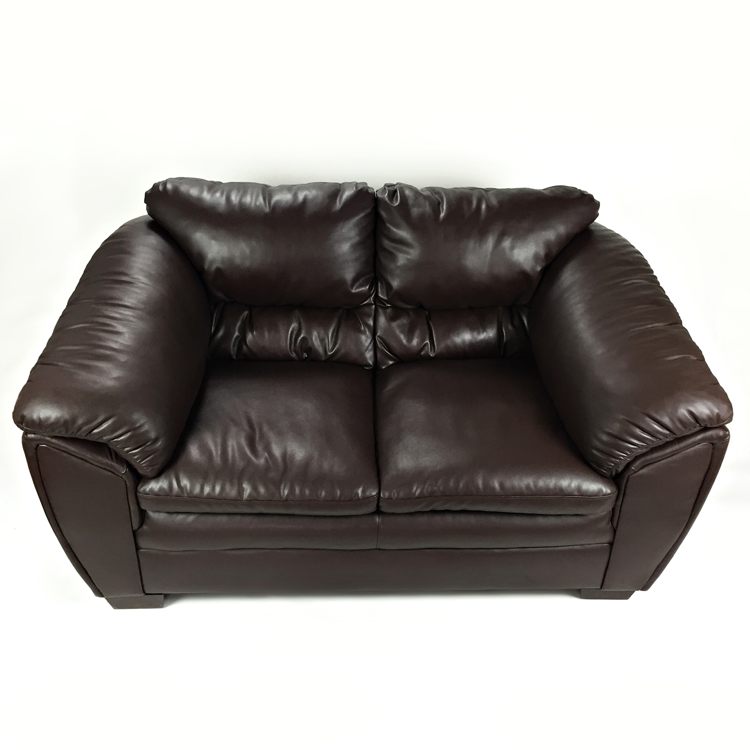 buy Brown Faux Leather Love Seat Bobs Furniture Sofas