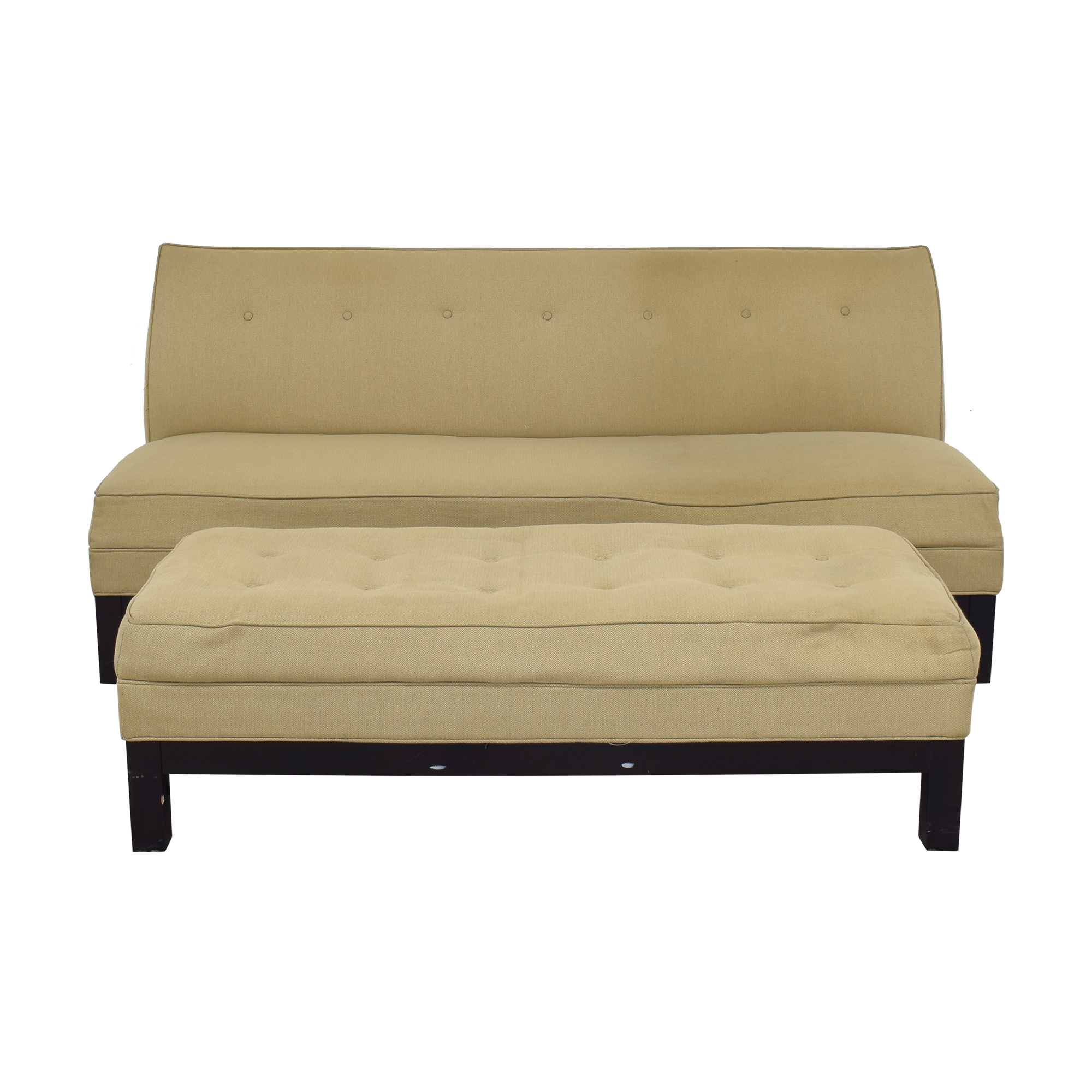 Restoration Hardware Restoration Hardware by Mitchell Gold Sofa and Ottoman dimensions