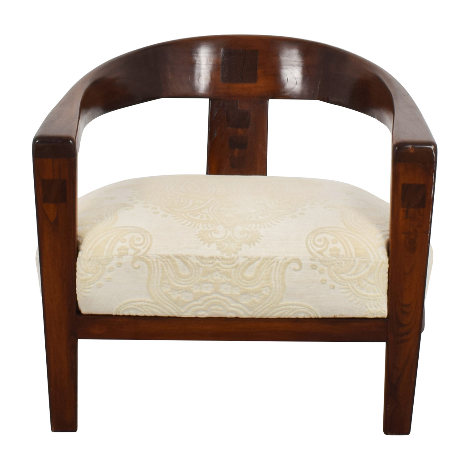 shop French Designer Beige Jacquard Embroidered Armchair