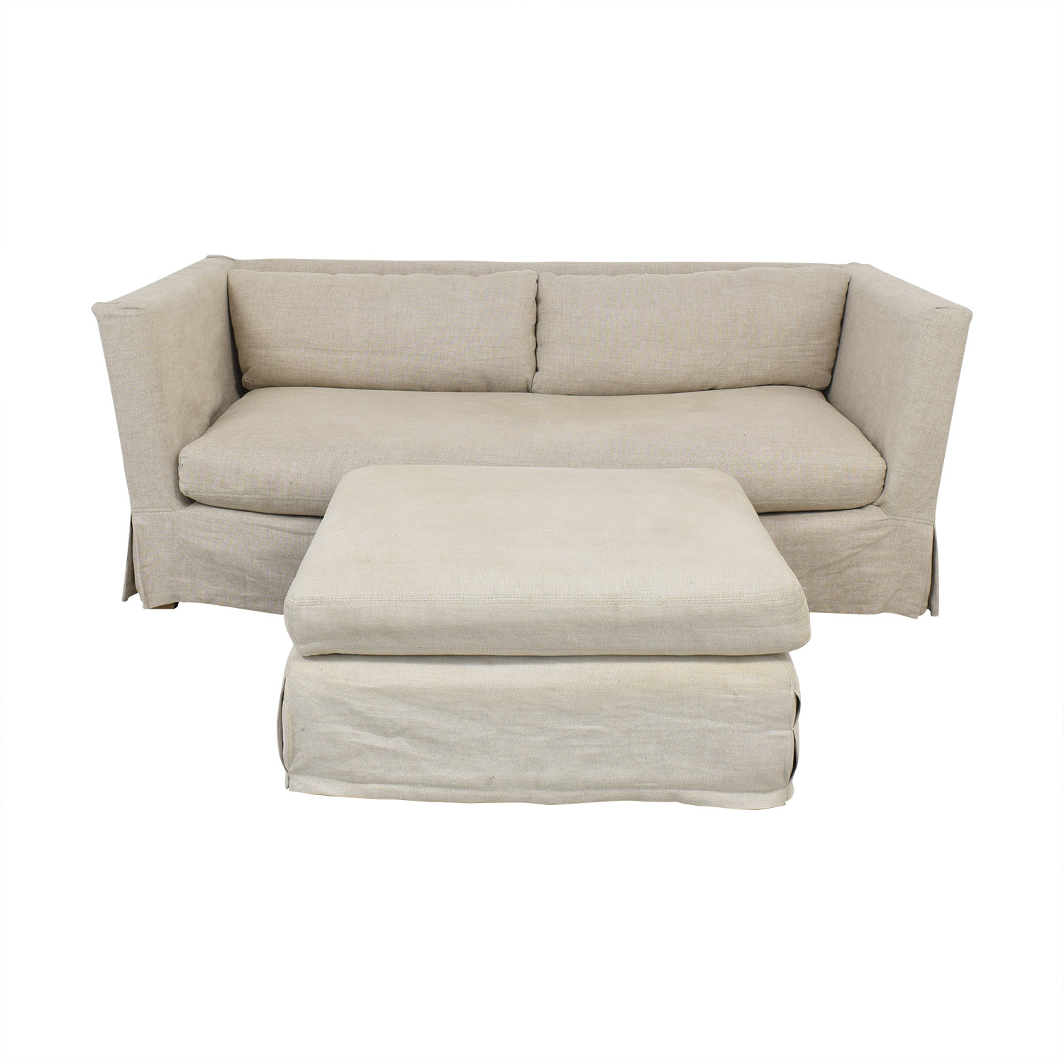 Restoration Hardware Belgian Shelter Arm Sofa & Ottoman Restoration Hardware