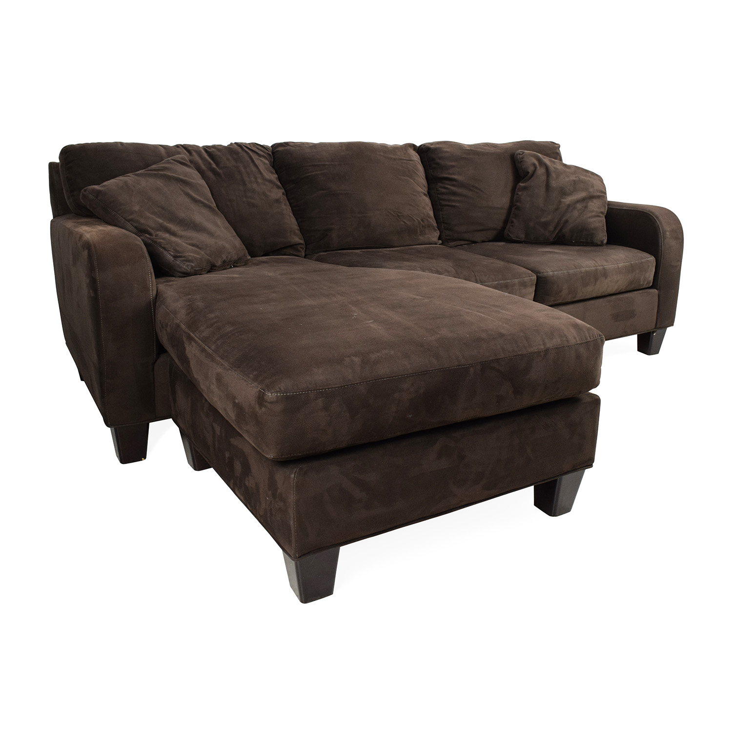 Bailey microfiber chaise sofa for Black microfiber chaise