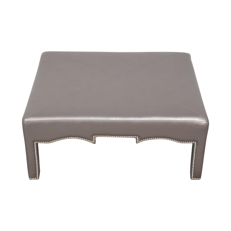 Upholstered Nailhead Ottoman used