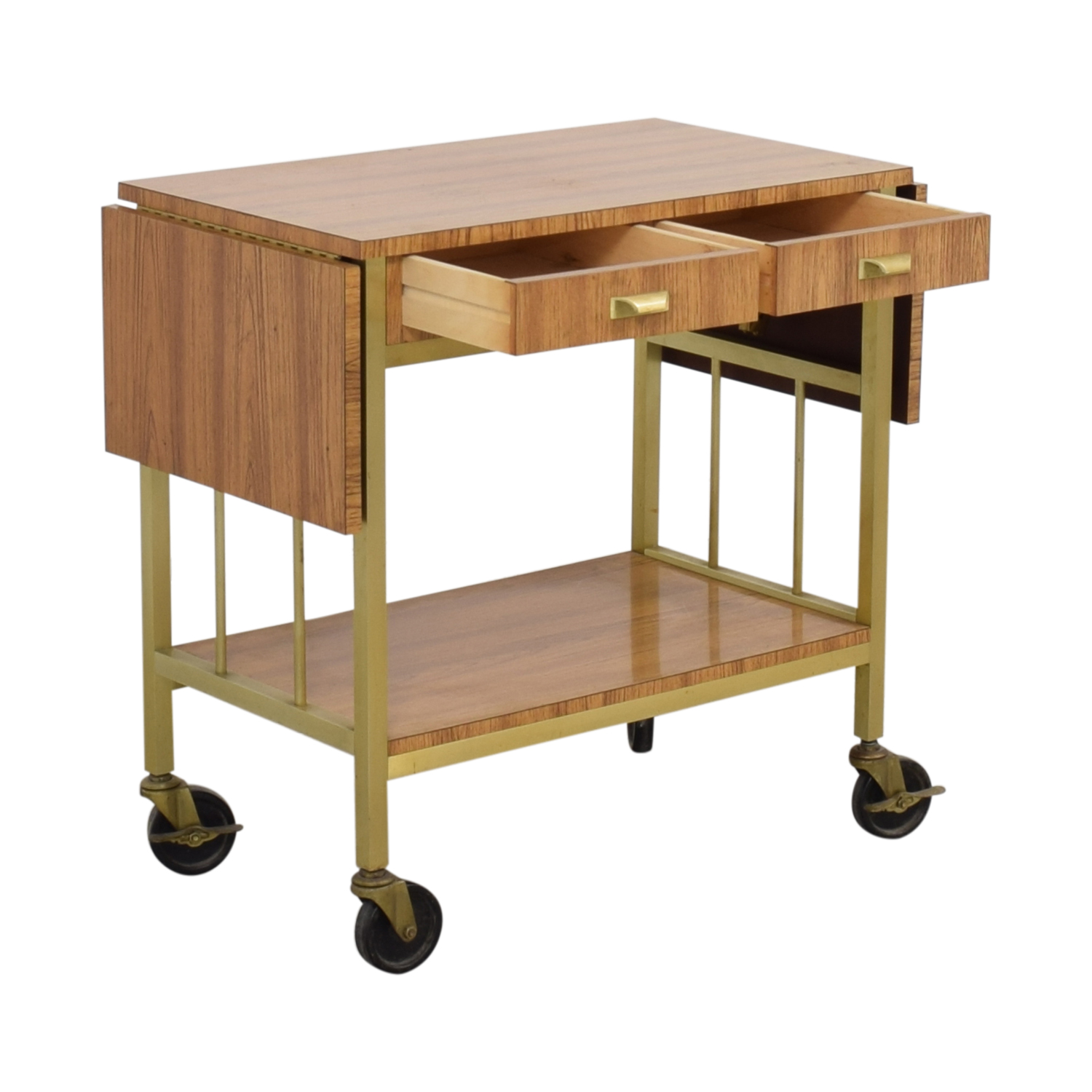 Rolling Tea Cart with Storage Tables