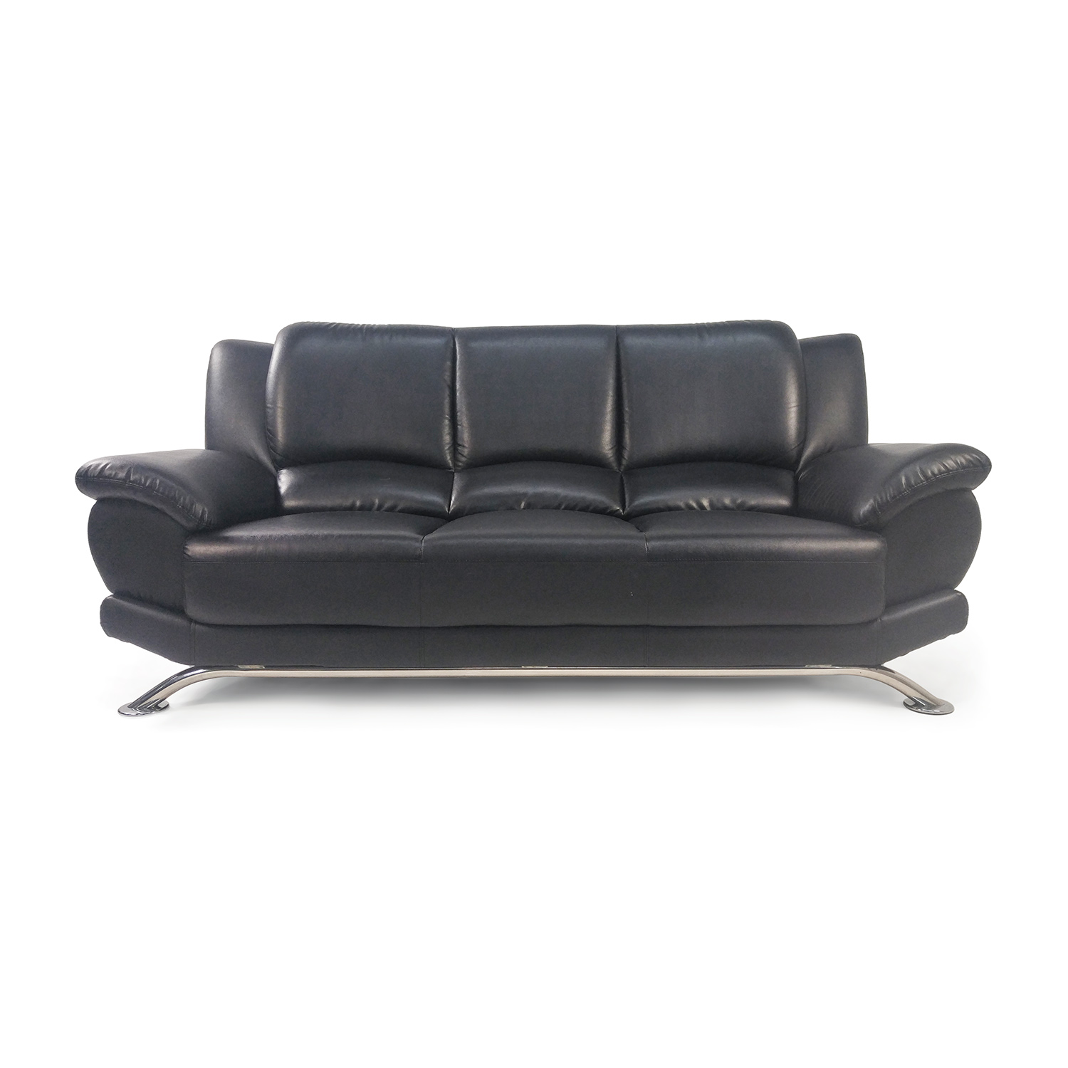 Custom Black Leather Sofa discount