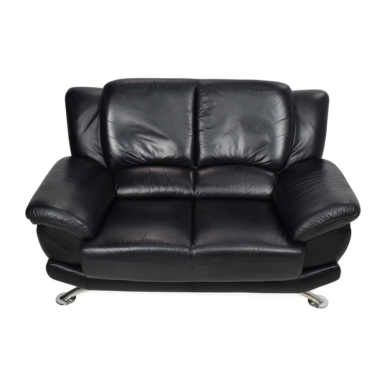 ... Shop Black Leather Loveseat Custom Sofas ...