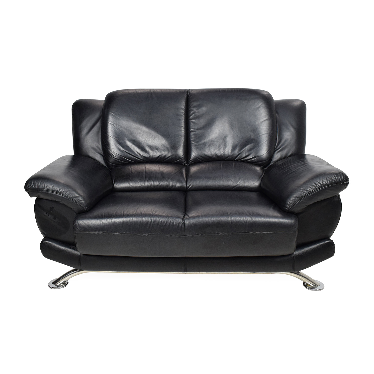 Custom Black Leather Loveseat Sofas