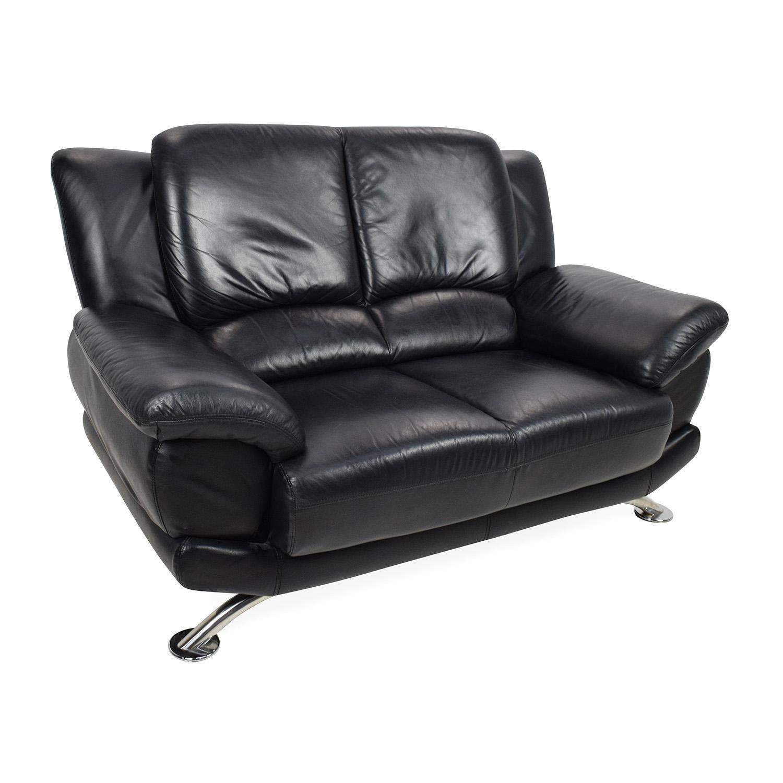65 Off Custom Black Leather Loveseat Sofas