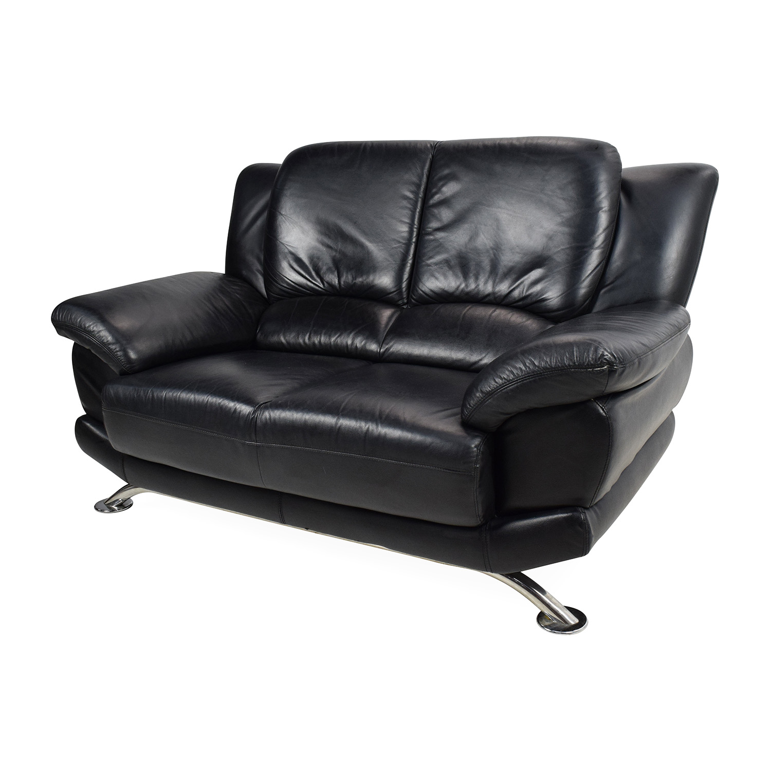 65 Off Custom Black Leather Loveseat Sofas