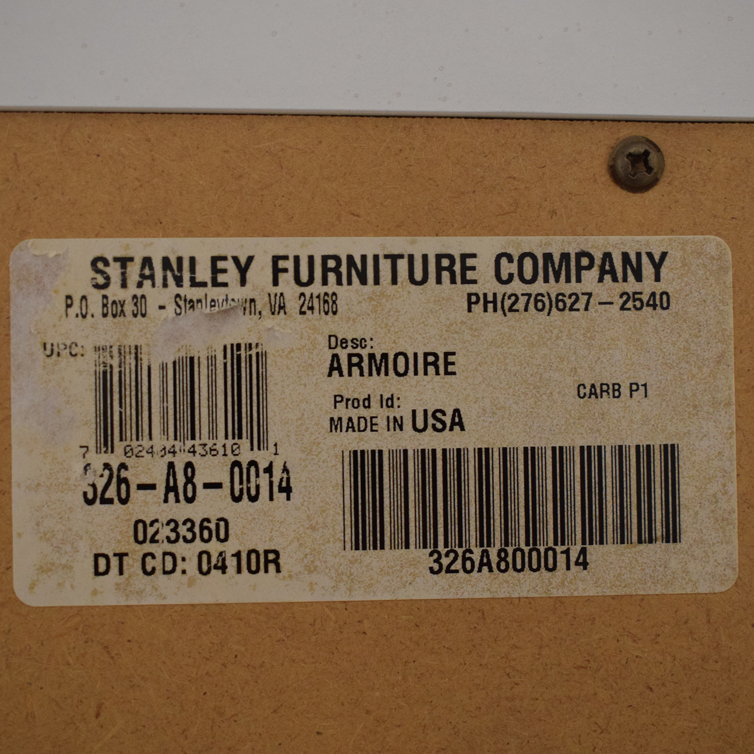 Stanley Furniture Stanley Furniture Cameo Armoire ma