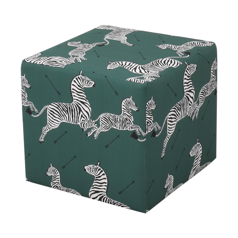 The Inside The Inside Emerald Zebra Cube Ottoman on sale