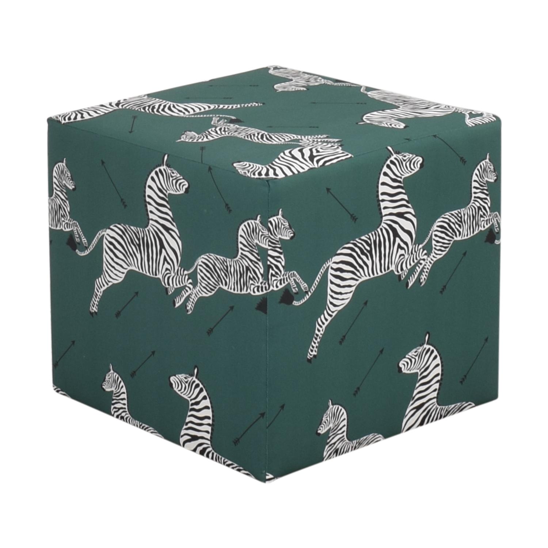 buy The Inside The Inside Emerald Zebra Cube Ottoman online