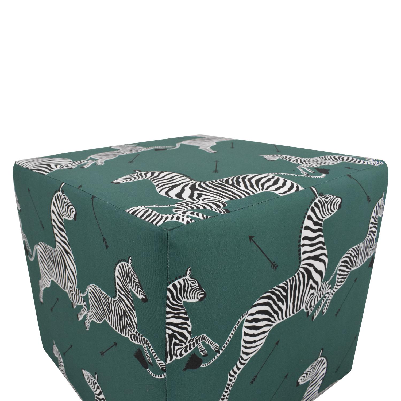 buy The Inside Emerald Zebra Cube Ottoman The Inside Ottomans