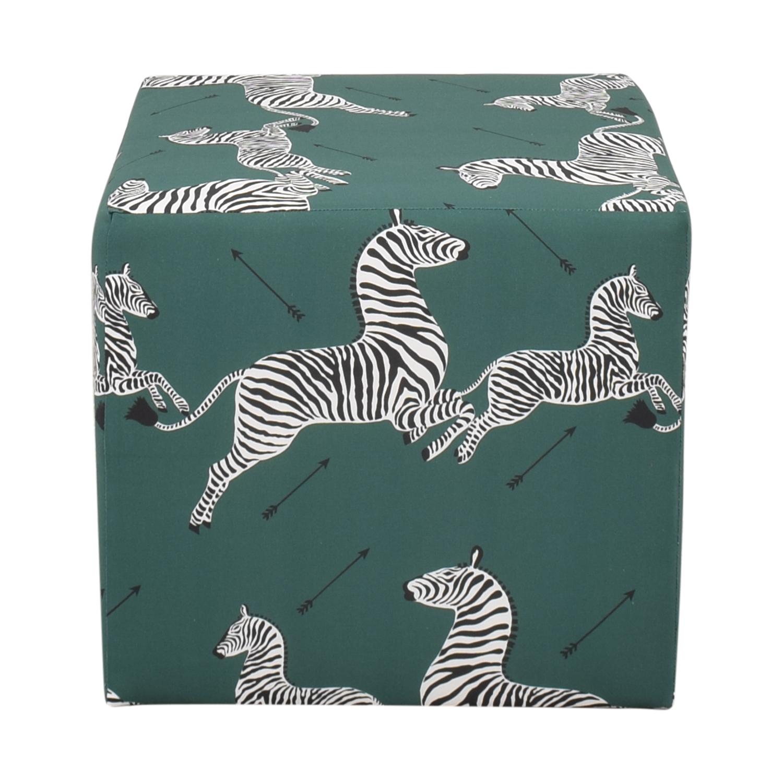 The Inside Emerald Zebra Cube Ottoman sale