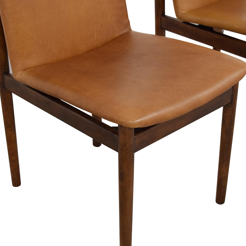 shop West Elm Framework Leather Dining Chairs West Elm