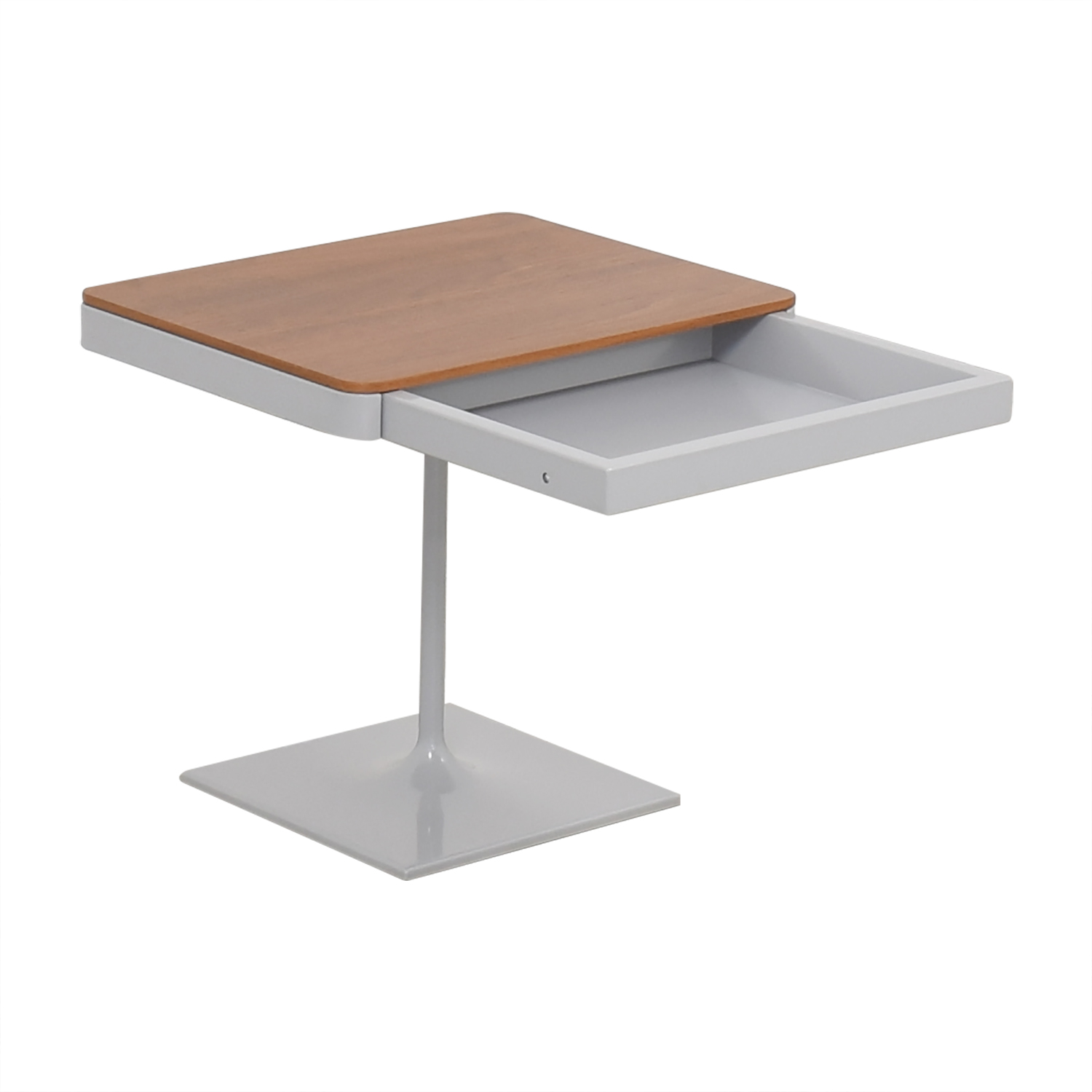 Design Within Reach Design Within Reach Min Bedside Table with Pedestal Base brown and grey