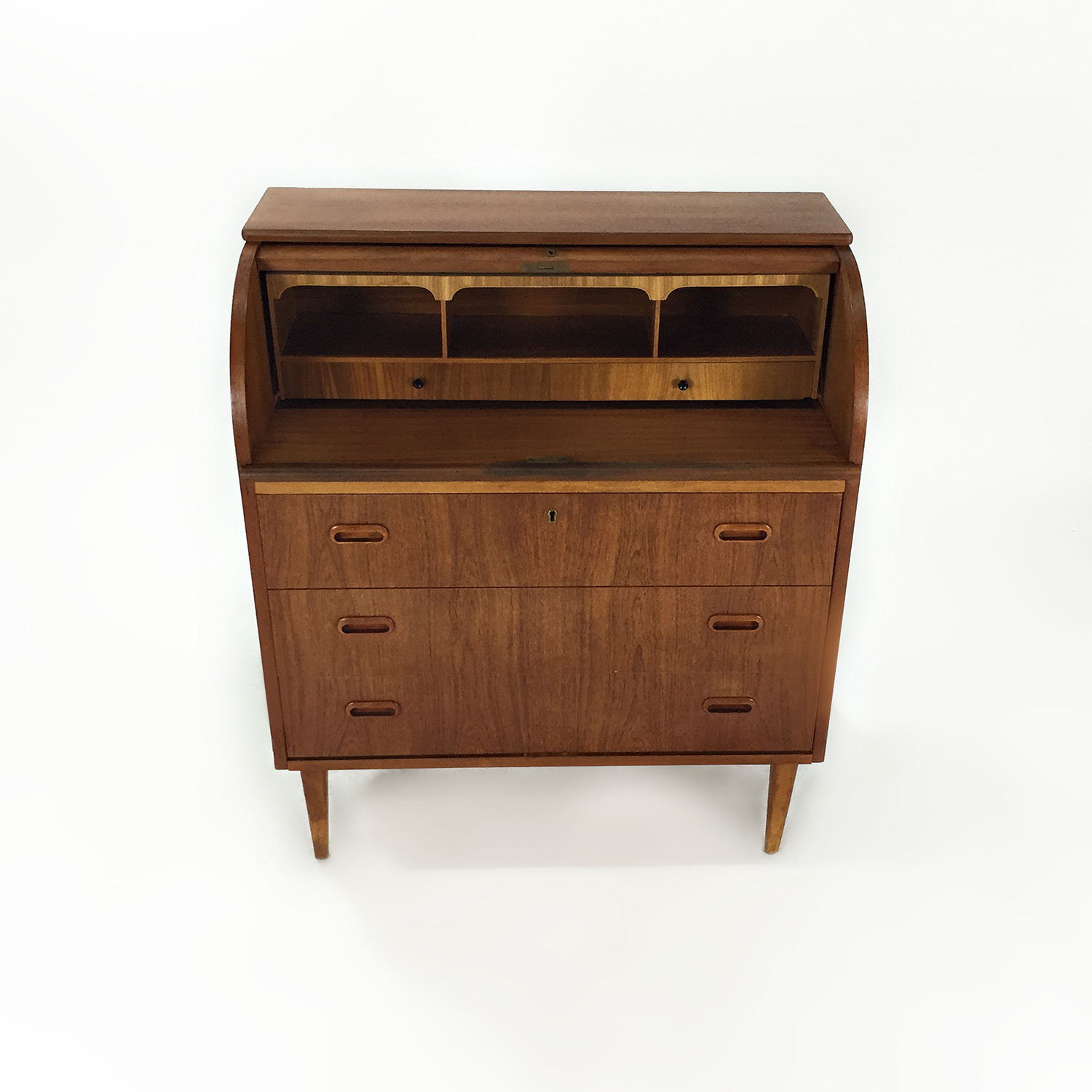 shop Teak Danish 1950s Roll Top Desk Custom