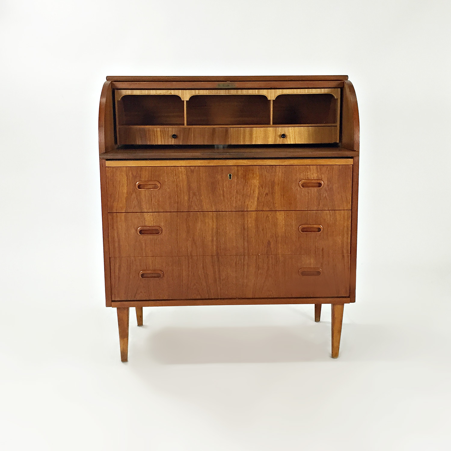 Custom Teak Danish 1950s Roll Top Desk second hand