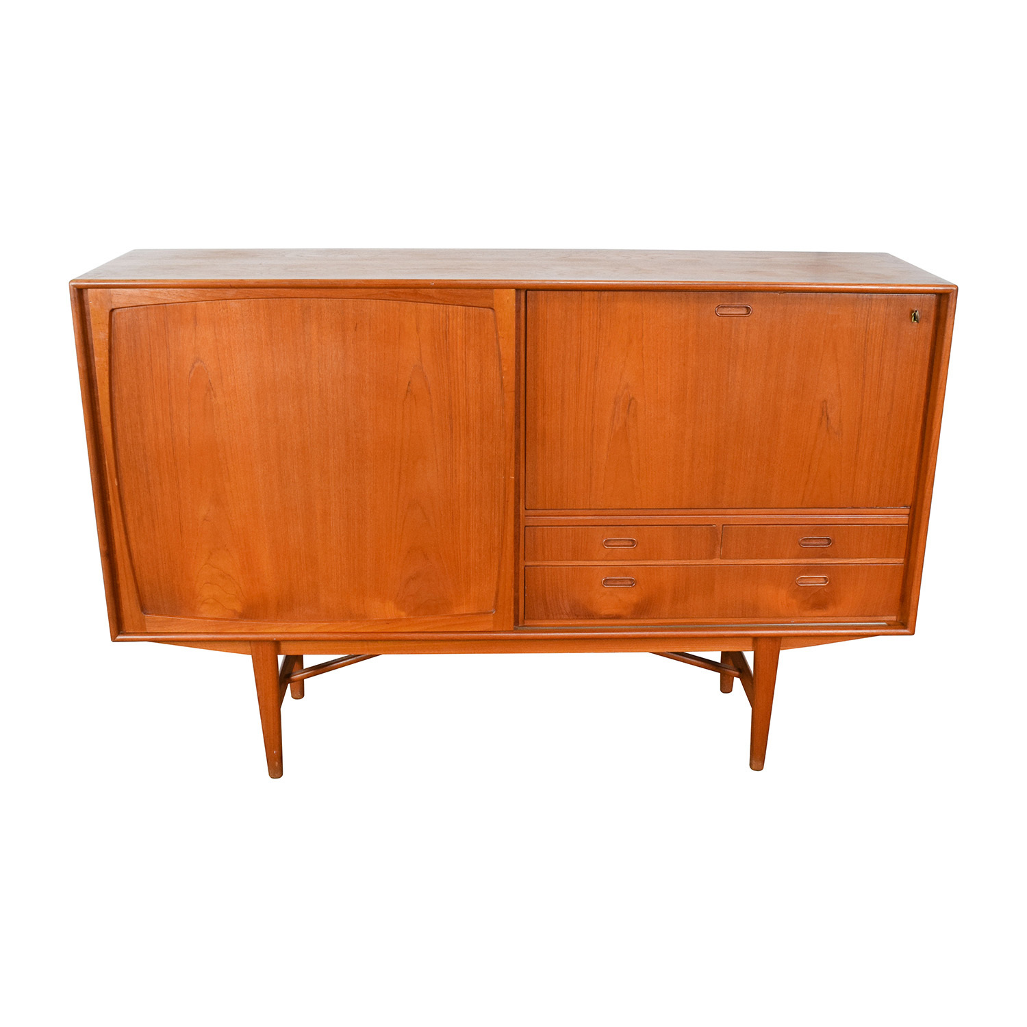 Teak Danish 1950s Custom Sideboard with Etched Glass Bar Interior sale