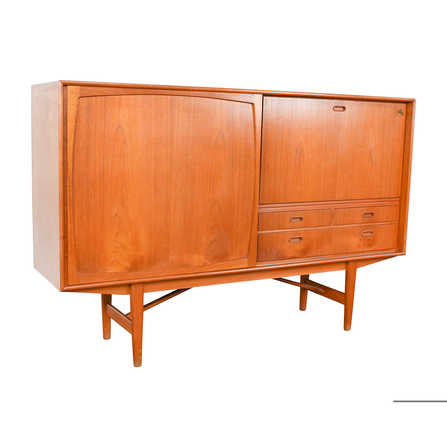 43 Off Teak Danish 1950 39 S Custom Sideboard With Etched Glass Bar Interior Storage