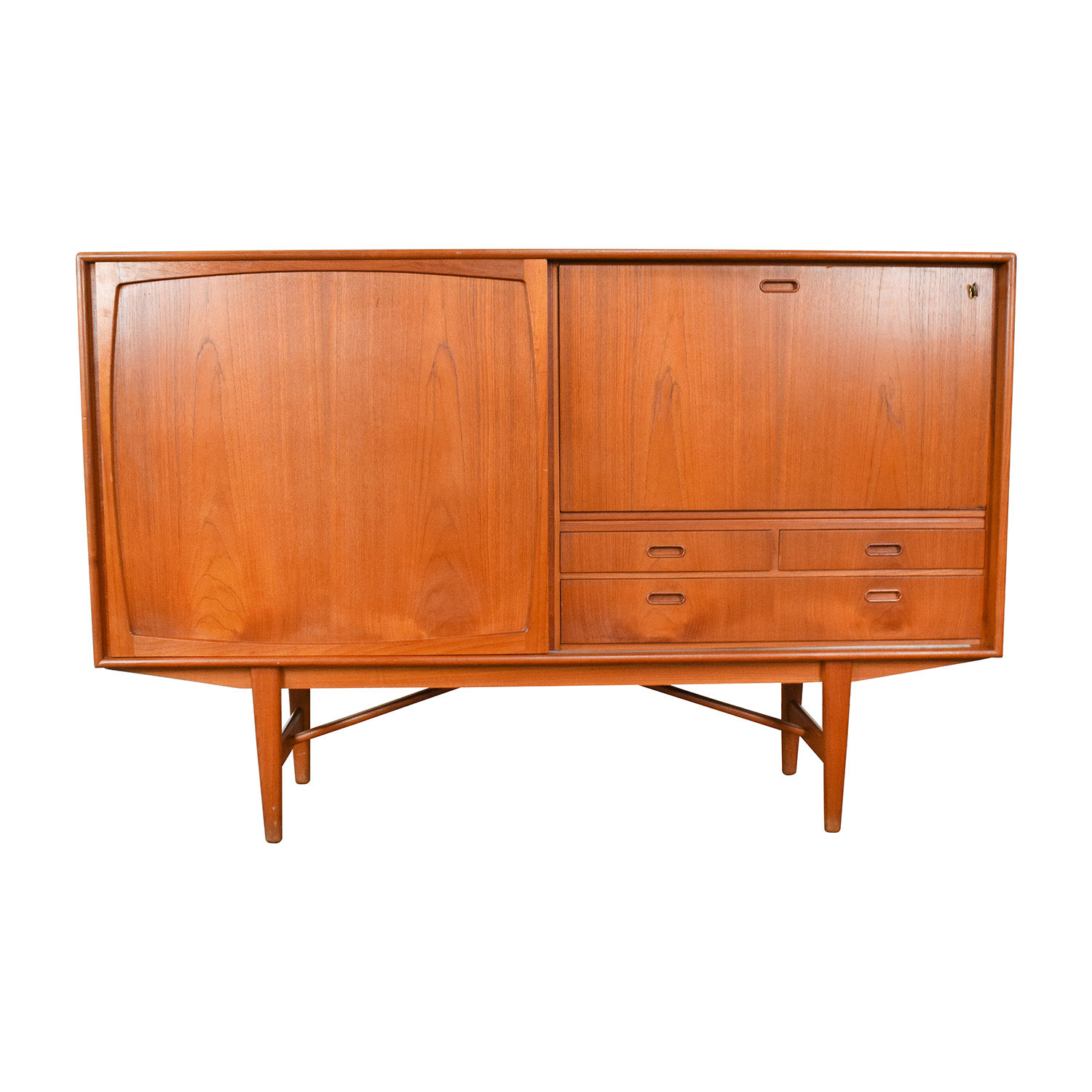 Teak Danish 1950s Custom Sideboard with Etched Glass Bar Interior nyc