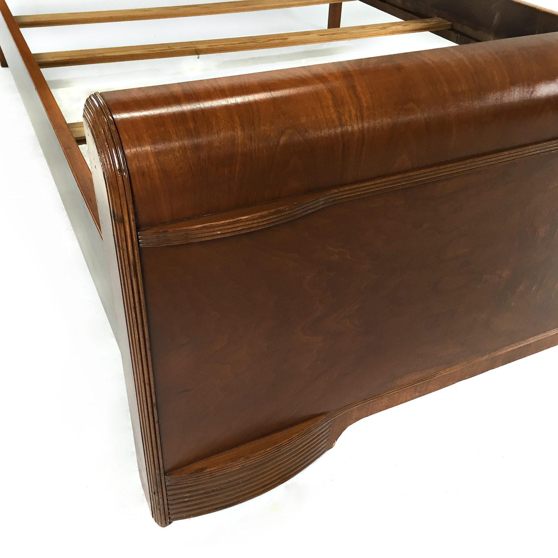 Custom Art Deco Waterfall Queen Bedframe Brown