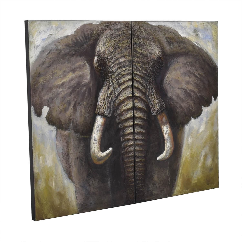 Two Panel Elephant Wall Art / Decor