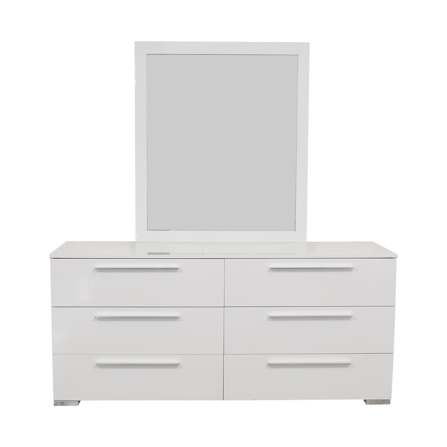 Modern 6-Drawer Dresser with Mirror