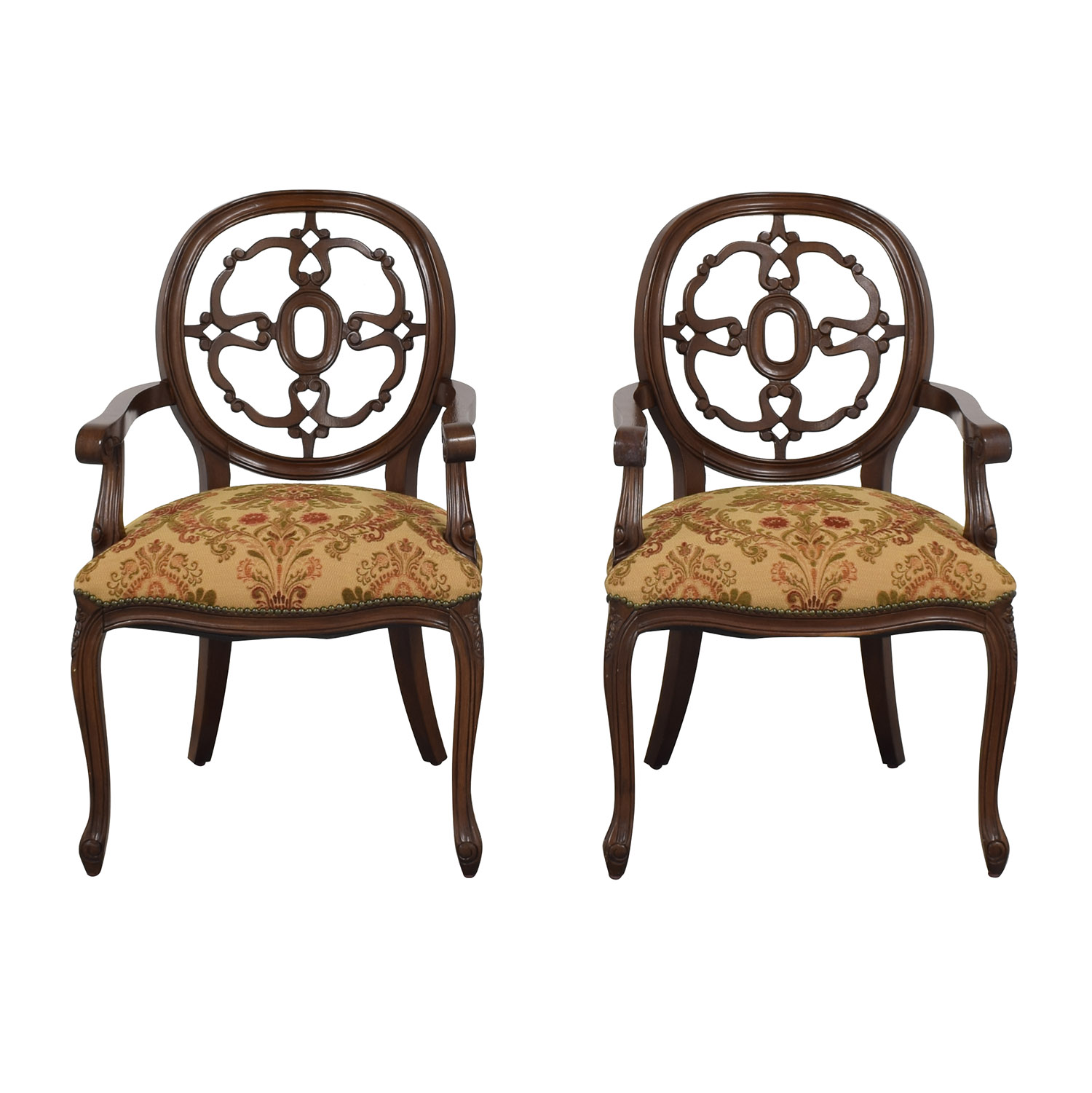 Floral Upholstered Armchairs with Antique Finish dimensions